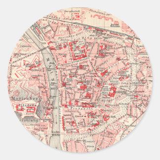 Mapa del vintage de Wurzburg Alemania (1905) Etiquetas Redondas