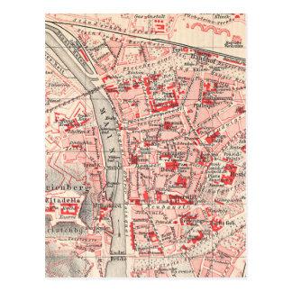 Mapa del vintage de Wurzburg Alemania (1905) Postal