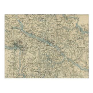 Mapa del vintage del área de Richmond Virginia (18 Tarjeta Postal