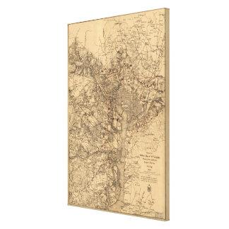 Mapa del vintage del área del Washington DC (1865) Impresión En Lienzo Estirada