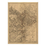 Mapa del vintage del área del Washington DC (1865) Impresiones