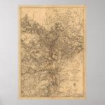 Mapa del vintage del área del Washington DC (1865) Póster