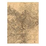 Mapa del vintage del área del Washington DC (1865) Tarjetas Postales