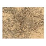 Mapa del vintage del área del Washington DC (1865) Postales