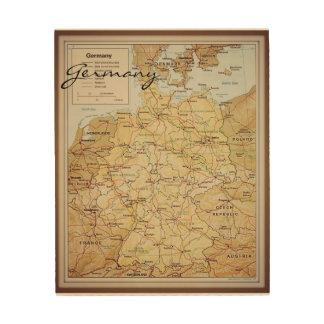 Mapa del vintage del arte de madera de la pared de impresiones en madera