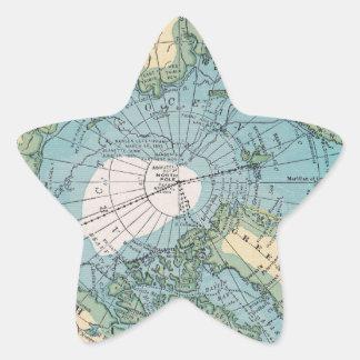 Mapa del vintage del ártico pegatina en forma de estrella