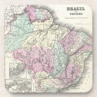 Mapa del vintage del Brasil (1855) Posavasos De Bebidas