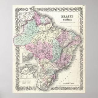 Mapa del vintage del Brasil (1855) Póster