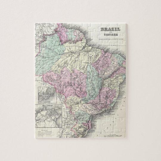 Mapa del vintage del Brasil (1855) Puzzle