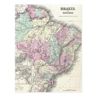 Mapa del vintage del Brasil (1855) Postal