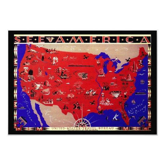 """Mapa del vintage del cambio de Estados Unidos de Invitación 3.5"""" X 5"""""""