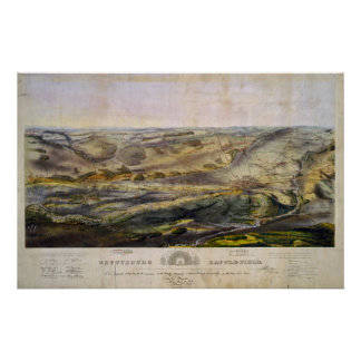 Mapa del vintage del campo de batalla de Gettysbur Impresiones