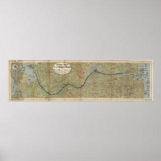Mapa del vintage del Canal de Panamá (1886) Póster
