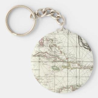 Mapa del vintage del Caribe Llavero Redondo Tipo Pin