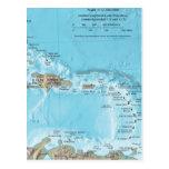 Mapa del vintage del Caribe - los E.E.U.U. Postales