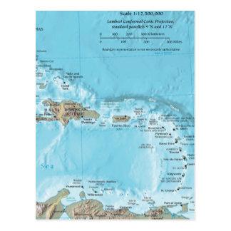 Mapa del vintage del Caribe - los E E U U Postales