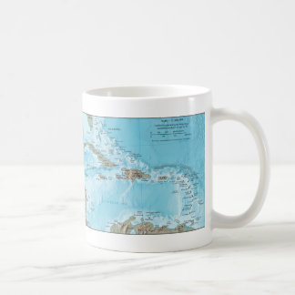 Mapa del vintage del Caribe - los E.E.U.U. Taza Clásica