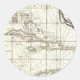 Mapa del vintage del Caribe Pegatina Redonda