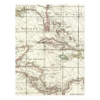 Mapa del vintage del Caribe Tarjetas Postales