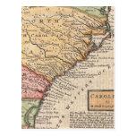 Mapa del vintage del Carolinas (1746) Tarjetas Postales