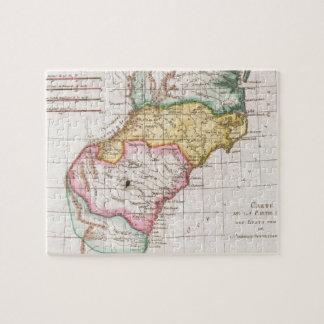 Mapa del vintage del Carolinas (1780) Puzzle Con Fotos
