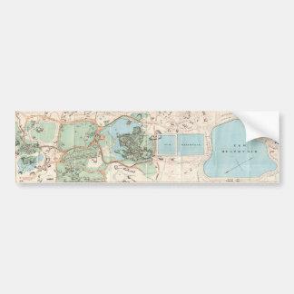 Mapa del vintage del Central Park 1860 Etiqueta De Parachoque