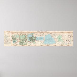 Mapa del vintage del Central Park (1860) Impresiones
