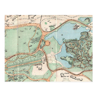 Mapa del vintage del Central Park 1860 Postal