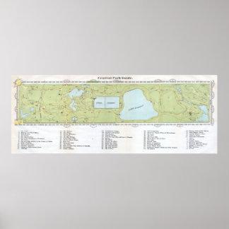 Mapa del vintage del Central Park NYC (1866) Póster