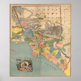 Mapa del vintage del condado de Los Angeles CA Póster