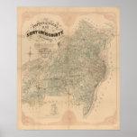Mapa del vintage del condado del Saint Louis Póster