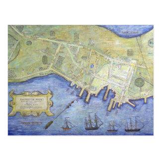 Mapa del vintage del cuello Maine (1775) de Tarjetas Postales