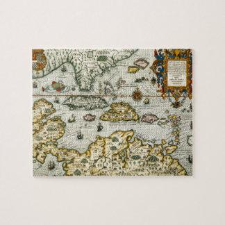 Mapa del vintage del del Caribe (1594) Puzzles Con Fotos