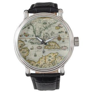 Mapa del vintage del del Caribe (1594) Relojes De Pulsera