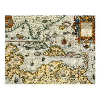 Mapa del vintage del del Caribe (1594) Tarjeta Postal