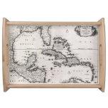Mapa del vintage del del Caribe (1696) Bandeja