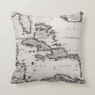 Mapa del vintage del del Caribe (1696) Cojin