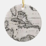 Mapa del vintage del del Caribe (1696) Ornamentos Para Reyes Magos