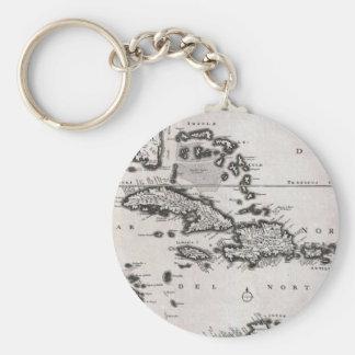 Mapa del vintage del del Caribe (1696) Llavero Redondo Tipo Pin
