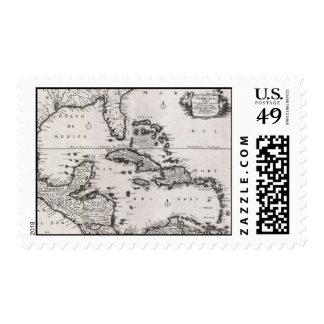 Mapa del vintage del del Caribe (1696) Envio