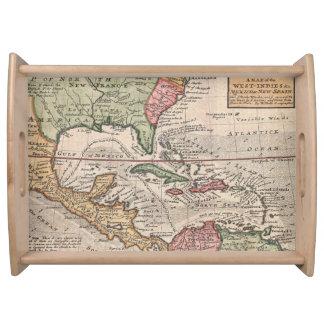 Mapa del vintage del del Caribe (1732) Bandeja