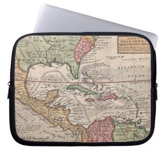 Mapa del vintage del del Caribe (1732) Mangas Portátiles
