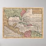 Mapa del vintage del del Caribe (1732) Impresiones