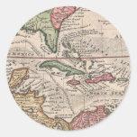 Mapa del vintage del del Caribe (1732) Pegatina Redonda