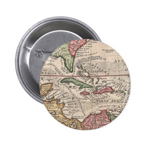 Mapa del vintage del del Caribe (1732) Pin