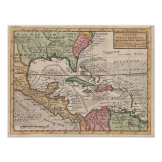 Mapa del vintage del del Caribe (1732) Póster