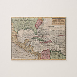 Mapa del vintage del del Caribe 1732 Rompecabezas Con Fotos