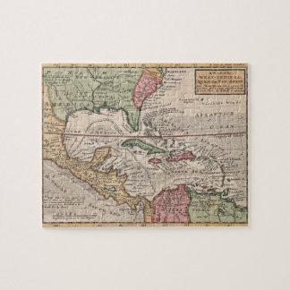 Mapa del vintage del del Caribe (1732) Rompecabeza Con Fotos