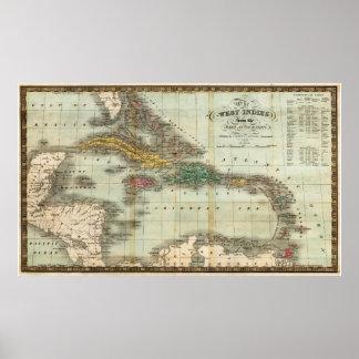 Mapa del vintage del del Caribe (1834) Póster