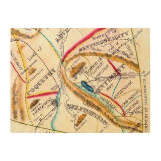 Mapa del vintage del egoísmo del amor de las emoci impresiones en madera